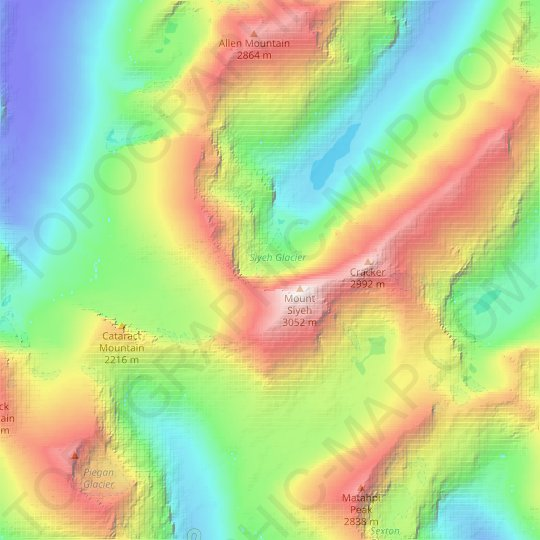 Siyeh Glacier topographic map, relief map, elevations map