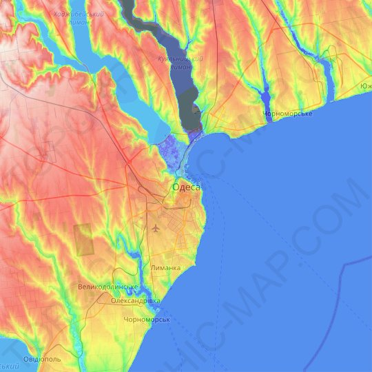 Odessa topographic map, relief map, elevations map
