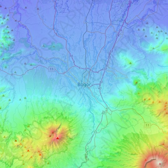 Bogor topographic map, relief map, elevations map
