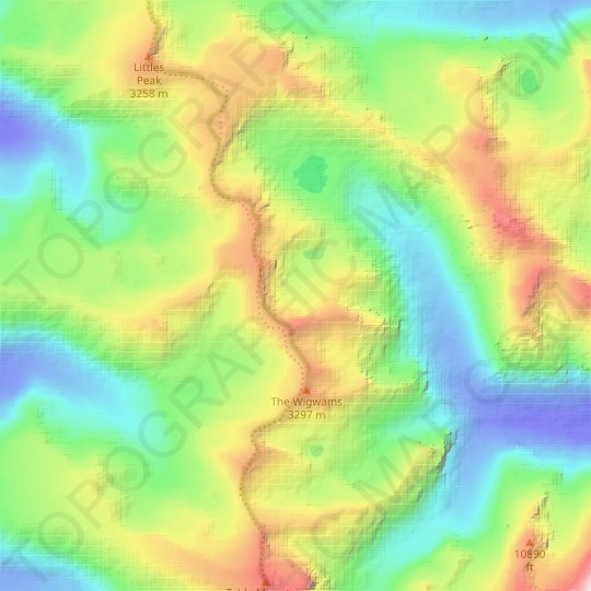 Petersen Glacier topographic map, relief map, elevations map