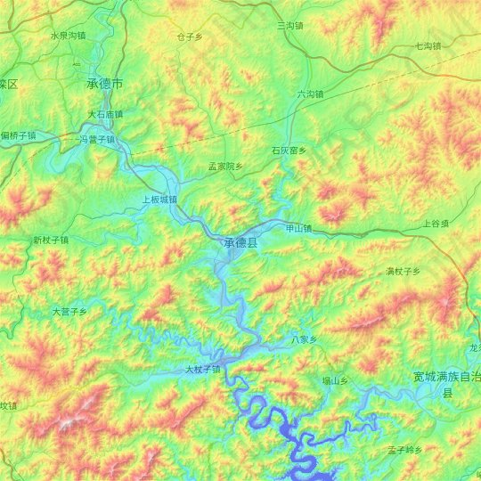 Chengde topographic map, relief map, elevations map