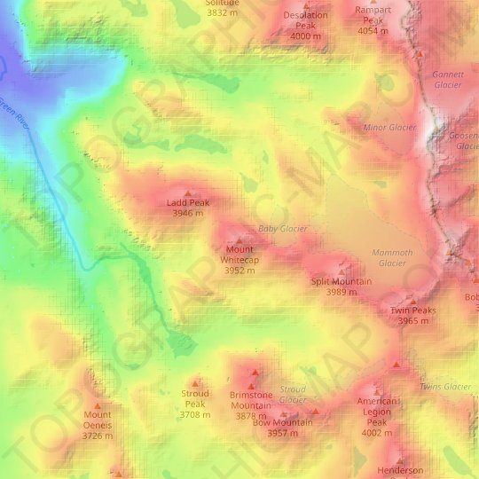 Mount Whitecap topographic map, relief map, elevations map