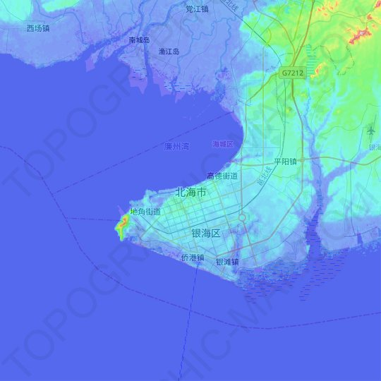 Beihai topographic map, relief map, elevations map