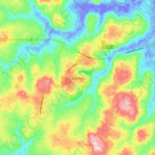 Jabiru topographic map, relief map, elevations map