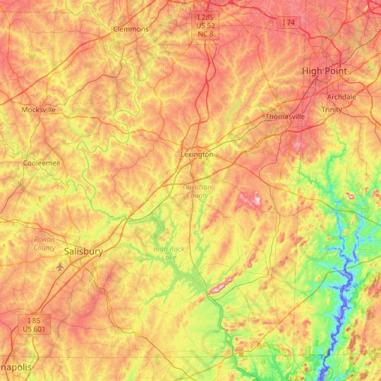 Davidson County topographic map, elevation, relief