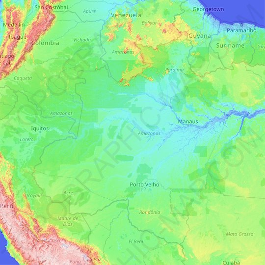 Amazonas topographic map, relief map, elevations map