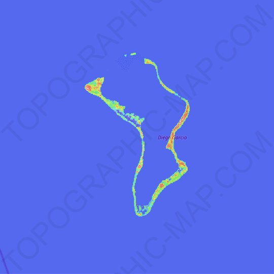 Diego Garcia topographic map, elevation, relief