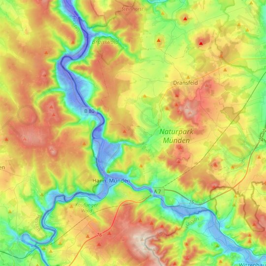 Hann. Münden topographic map, relief map, elevations map