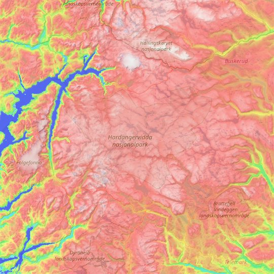 Hardangervidda topographic map, relief map, elevations map