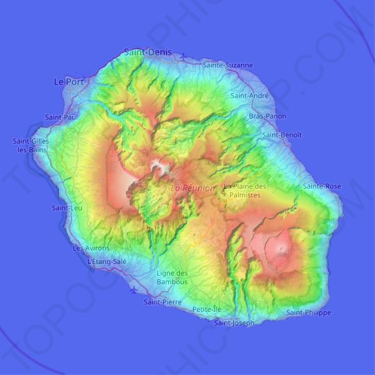 Réunion topographic map, elevation, relief