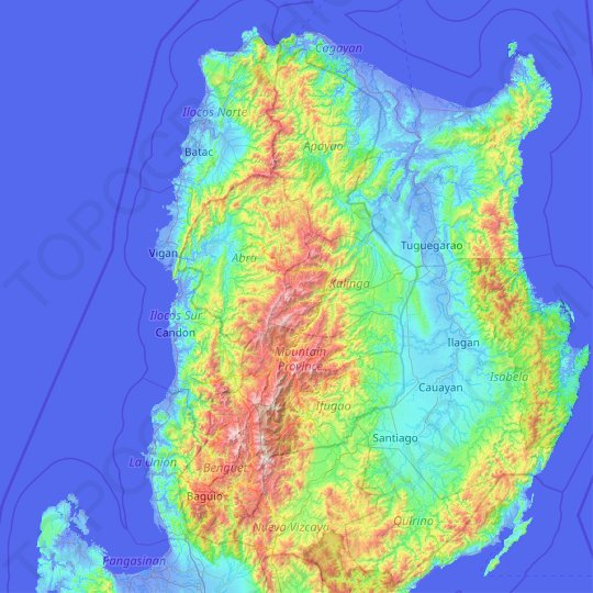Cordillera Administrative Region topographic map, elevation, relief