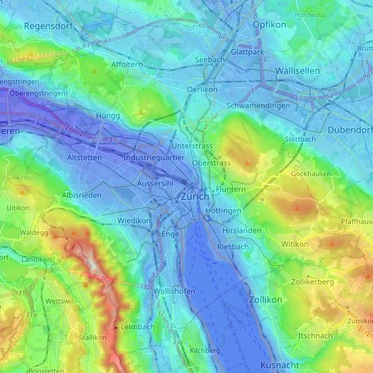 Zurich topographic map, elevation, relief