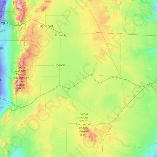 Torrance County topographic map, relief map, elevations map