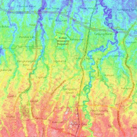 Jagakarsa topographic map, relief map, elevations map
