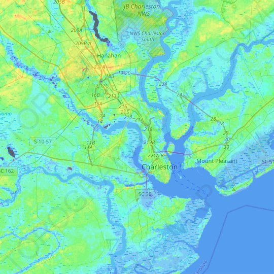 Charleston topographic map, relief map, elevations map