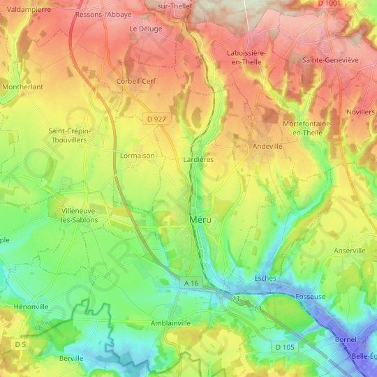 Méru topographic map, relief map, elevations map