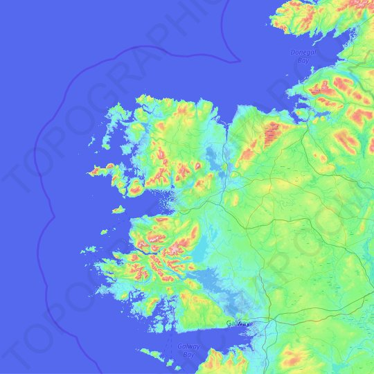 County Mayo topographic map, relief map, elevations map