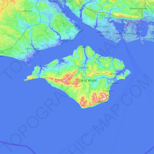 Isle of Wight topographic map, relief map, elevations map