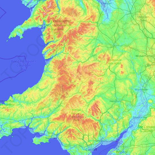 Powys topographic map, relief map, elevations map