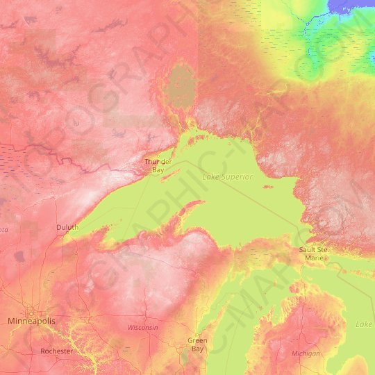 Lake Superior topographic map, relief map, elevations map