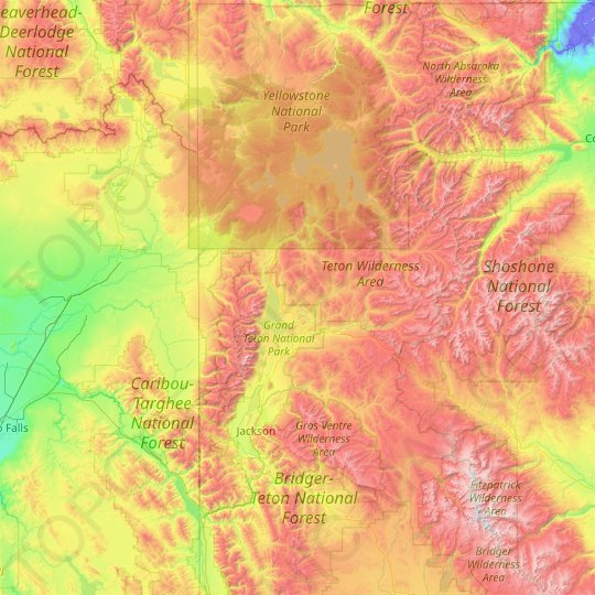 Teton County topographic map, relief map, elevations map