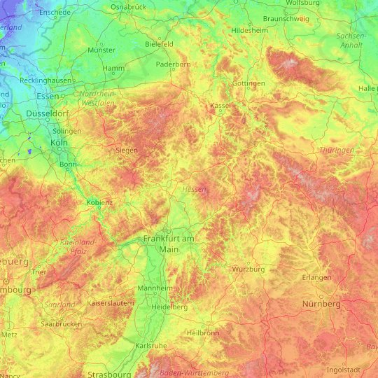 Hesse topographic map, relief map, elevations map