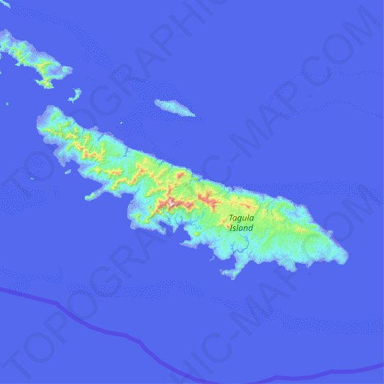 Tagula Island topographic map, relief map, elevations map