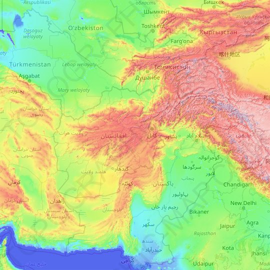Afghanistan topographic map, relief map, elevations map