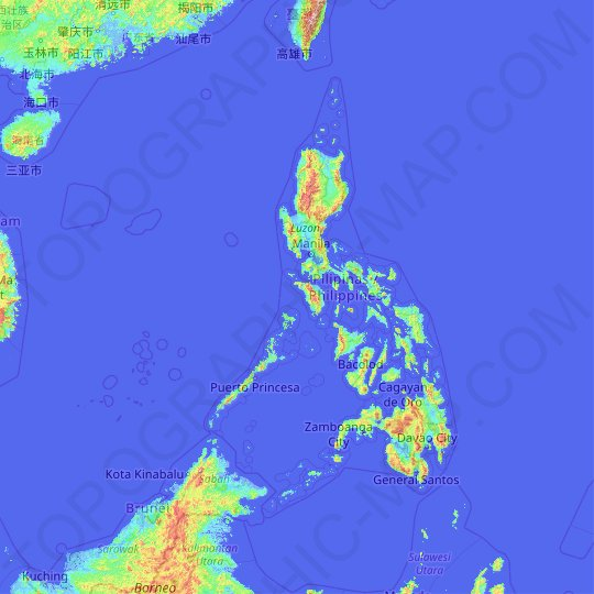 Philippines topographic map, relief map, elevations map