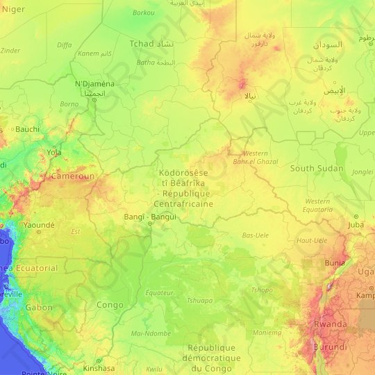 Central African Republic topographic map, relief map, elevations map
