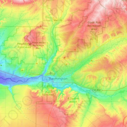 Farmington topographic map, relief map, elevations map