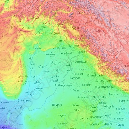 Chenab River topographic map, relief map, elevations map