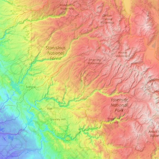 Tuolumne County topographic map, relief map, elevations map