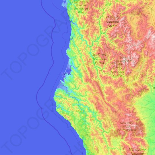 Humboldt County topographic map, elevation, relief