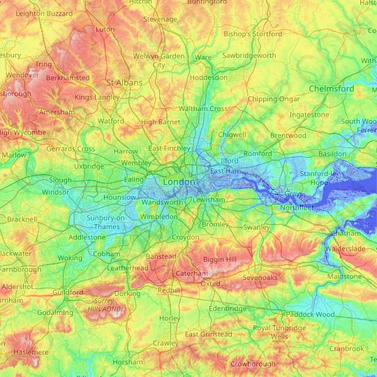 Greater London topographic map, relief map, elevations map