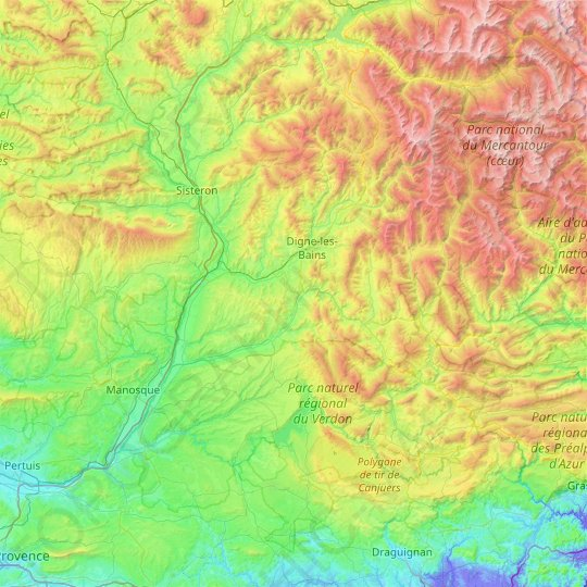 Le Verdon topographic map, relief map, elevations map