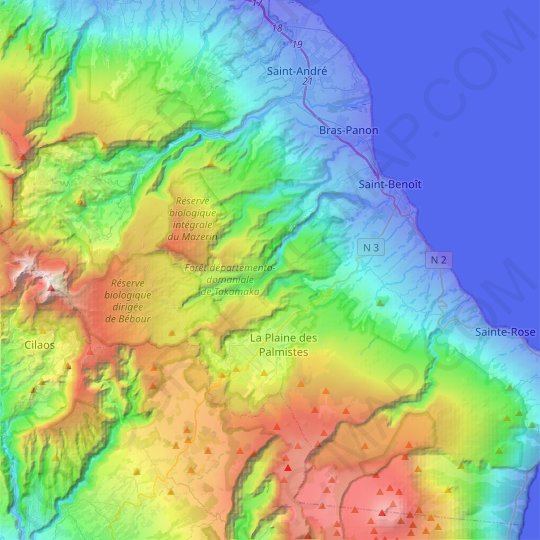Saint-Benoît topographic map, elevation, relief