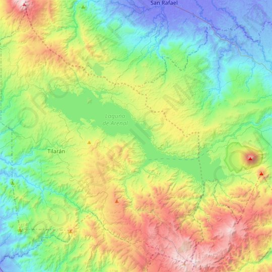 Lake Arenal topographic map, elevation, relief
