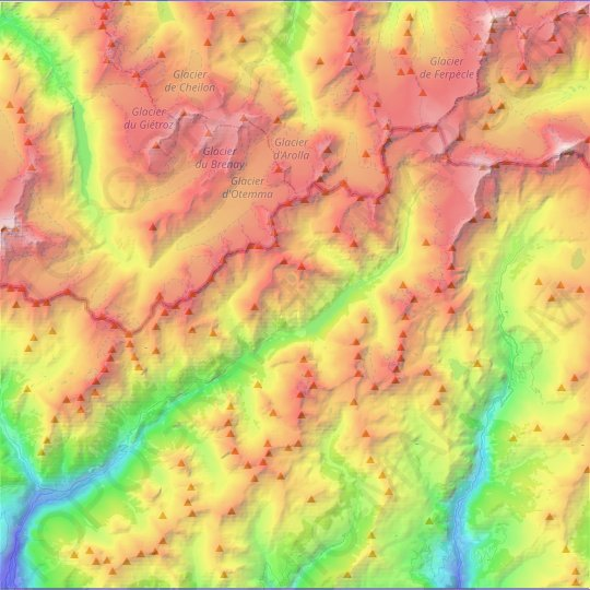 Bionaz topographic map, relief map, elevations map