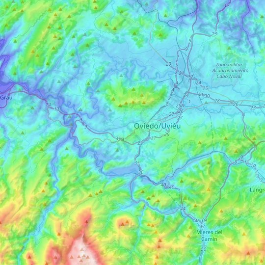Oviedo topographic map, relief map, elevations map