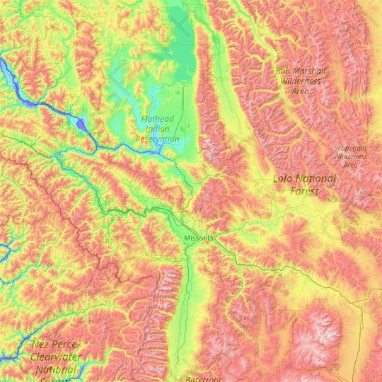 Missoula County topographic map, relief map, elevations map