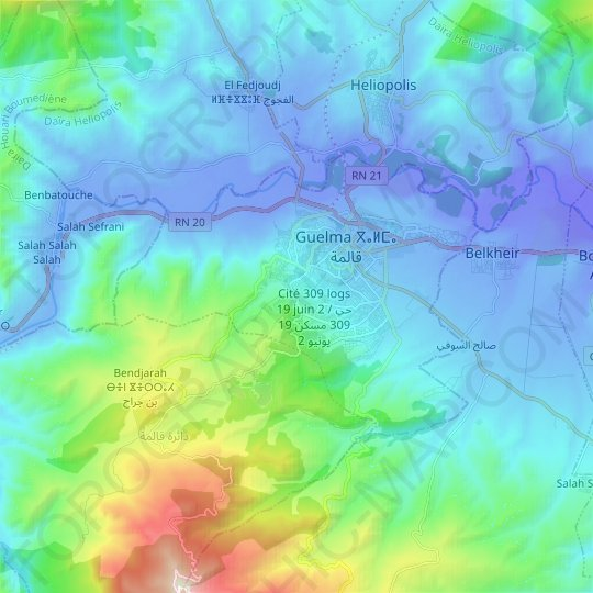 Guelma topographic map, relief map, elevations map