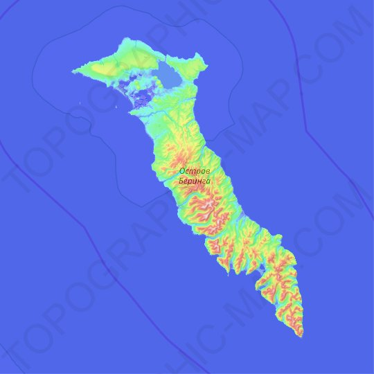 Bering Island topographic map, relief map, elevations map