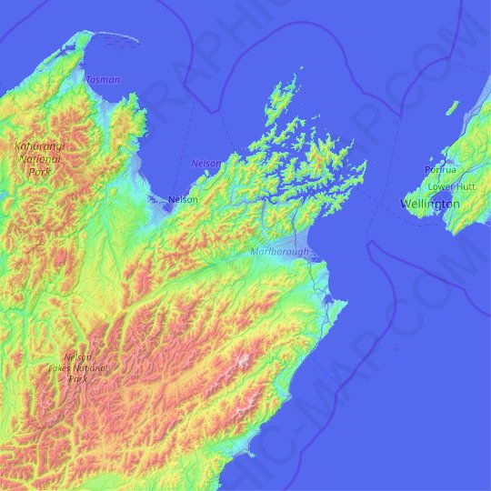 Marlborough topographic map, relief map, elevations map