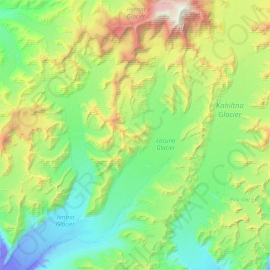 Lacuna Glacier topographic map, relief map, elevations map