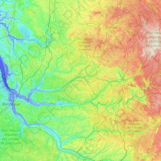 Dordogne topographic map, relief map, elevations map