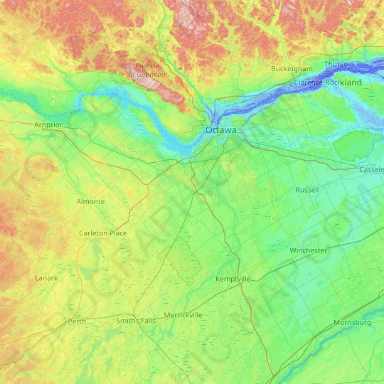 Ottawa topographic map, relief map, elevations map