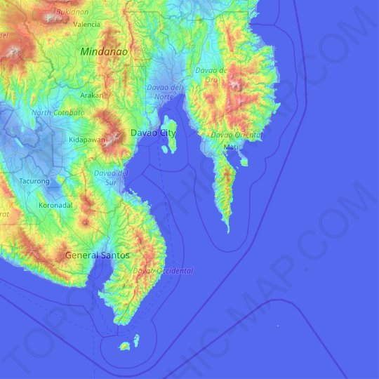 Davao Region topographic map, relief map, elevations map