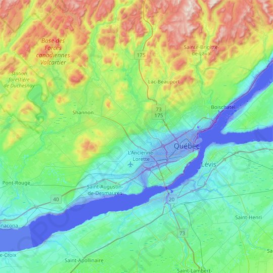 Québec (Agglomération) topographic map, relief map, elevations map