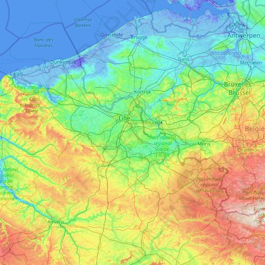 Nord topographic map, relief map, elevations map